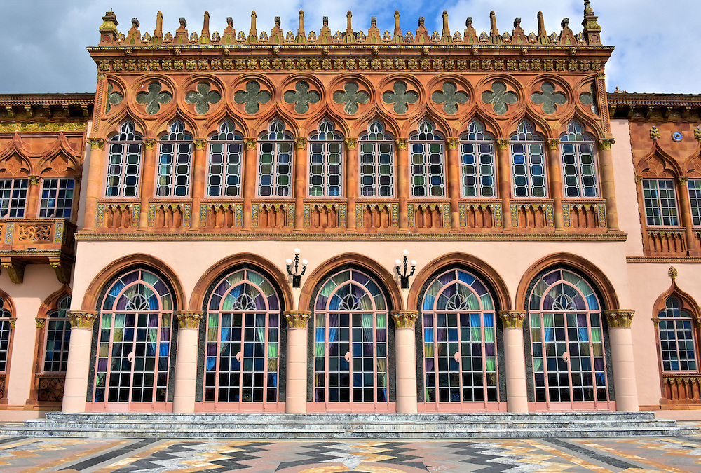 Rear Fa&ccedil;ade of Ringling Mansion in Sarasota, Florida<br /> If this rear fa&ccedil;ade of the Ca&rsquo; d&rsquo;Zan looks similar to the Ducal Palace in Venice, then you have a good eye for Veneto-Byzantine architecture because John Ringling wanted his winter residence to look just like a palazzo along the Grand Canal.  Its 1,000 foot length is beautifully appointed with Byzantine and Moorish elements and covered with terra cotta and glazed titles. The terrace is a marble mosaic in an array of colors. It leads to the waterfront of Sarasota Bay where Mr. Ringling often docked his yacht, the Zalophus.