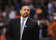 Apr 5, 2013; Phoenix, AZ, USA; Golden State Warriors head coach Mark Jackson reacts on the court during the  game against the Phoenix Suns at US Airways Center. The Warriors defeated the Suns 111-107. Mandatory Credit: Jennifer Stewart-USA TODAY Sports