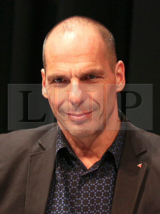 © Licensed to London News Pictures. 13/09/2015. Brighton, UK. Former Greek finance minister YANIS VAROUFAKIS speaking at the Public and Commercial Services Union (PCS) public debate about Fighting Austerity at Brighton's Corn Exchange, a fringe event at the TUC conference. Photo credit : Hugo Michiels/LNP