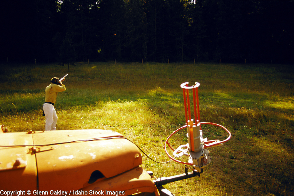 Shooting trap, with throwing trap mounted on Willys Jeep, Selway Lodge, Idaho. MR