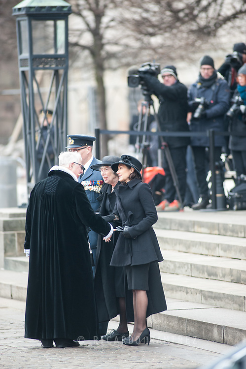 20.02.2018. Copenhagen, Denmark.<br /> Countess Alexandra  thanked and shook hands with Royal priest Erik Nordmand Svendsen after the funeral service.<br /> Photo: Ricardo Ramirez.