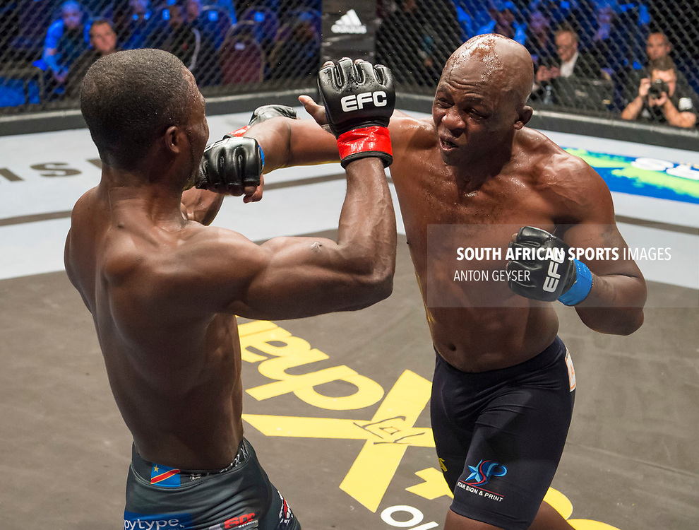 JOHANNESBURG, SOUTH AFRICA - MAY 13: (R-L) Conrad Seabi punches Kaleka Kabanda during EFC 59 Fight Night at Carnival City on May 13, 2017 in Johannesburg, South Africa. (Photo by Anton Geyser/EFC Worldwide/Gallo Images)