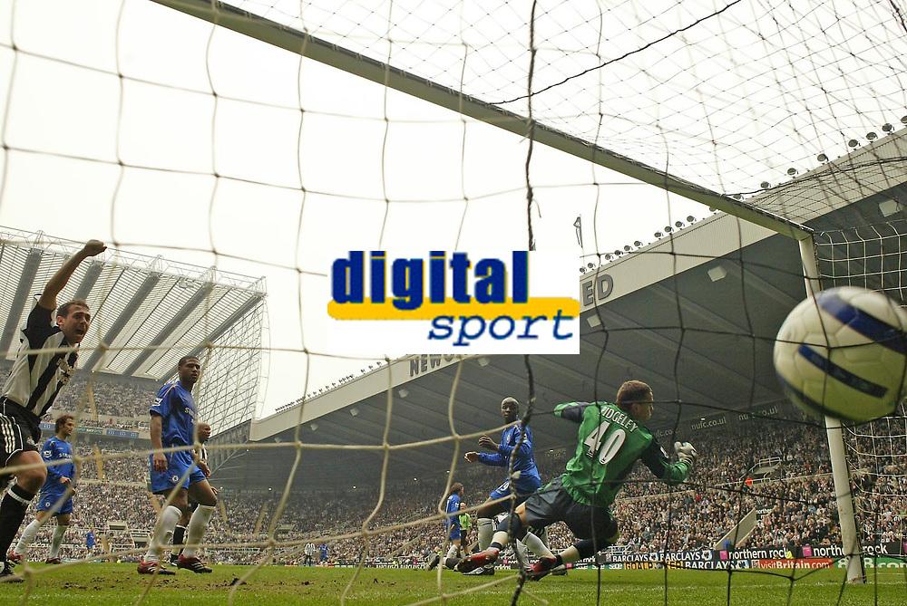 Photo: Andrew Unwin.<br /> Newcastle United v Chelsea. The Barclays Premiership. 07/05/2006.<br /> Newcastle's Michael Chopra (L) celebrates as Titus Bramble scores his team's first goal.