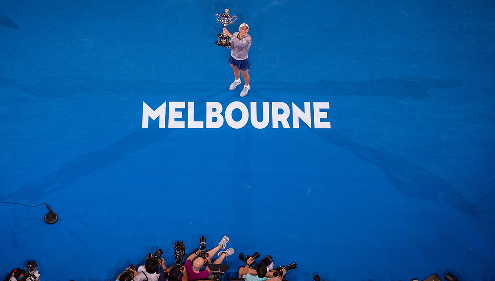 Caroline Wozniacki of Denmark during the trophy presentation of the women's singles championship match during the 2018 Australian Open on day 13 in Melbourne, Australia on Saturday night January 27, 2018.<br /> (Ben Solomon/Tennis Australia)