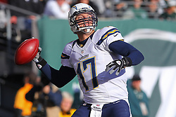 Dec 23, 2012; East Rutherford, NJ, USA; San Diego Chargers quarterback Philip Rivers (17) looks to pass during the first half of their game against the New York Jets at MetLIfe Stadium.