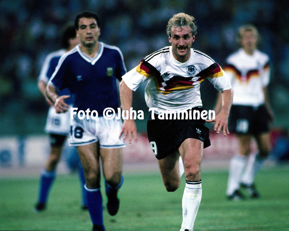 FIFA World Cup - Italia 1990<br /> Stadio Olimpico, Rome, Italy.<br /> Final Argentina v West Germany.<br /> Rudi V&ouml;ller - Germany