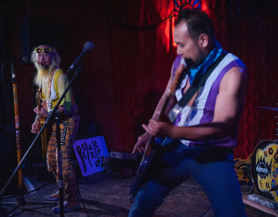 "Kengo Hioki (AKA Peelander Yellow) and Akiteru Ito (AKA Peelander Purple) of Peelander-Z performing at Alex's Bar in Long Beach to promote the release of the band's documentary ""Mad Tiger,"" on April 10, 2016 at Alex's Bar in Long Beach, CA."