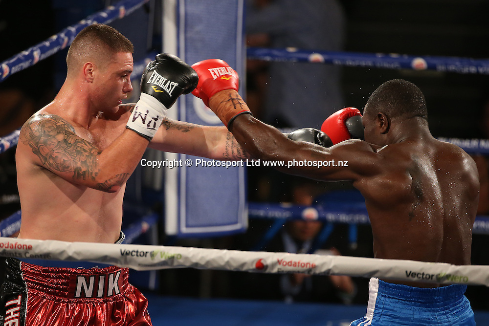 Undercard fight bout three Joseph Kwadjo (R) v Nik Charalampous  at the Burger King Road to the Title by Duco Boxing. Saturday 21 May 2016. Auckland, New Zealand. © Copyright Photo: Fiona Goodall / www.photosport.nz