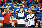 Jamie Murray of Great Britain and Dan Evans of Great Britain look on before the 2016 Davis Cup Semi Final at the Emirates Arena, Glasgow, United Kingdom on 18 September 2016. Photo by Craig Doyle.