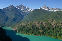Colonial Peak, Pyramid Mountain, and Diablo Lake, Ross Lake Recreation Area, North Cascades Washington.
