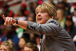 March 19, 2011; Stanford, CA, USA; Texas Tech Lady Raiders head coach Kristy Curry on the sidelines against the St. John's Red Storm during the first half of the first round of the 2011 NCAA women's basketball tournament at Maples Pavilion. St. John's defeated Texas Tech 55-50.
