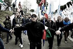 Roma 20.03.2010 Italy - Manifestazione del Popolo delle Libertà voluta da Silvio Berlusconi. Nella Foto: Il corteo partito dal Circo Massimo. Foto Giovanni Marino