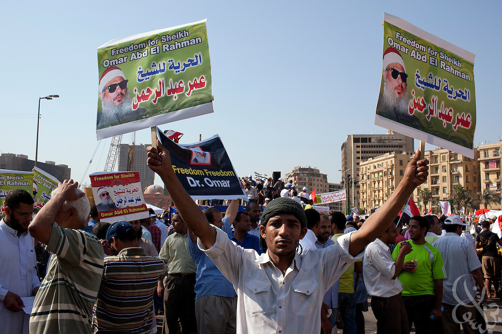 A small group of Egyptians rally for the freedom of convicted terrorist Sheikh Omar Abdel-Rahman as part of a larger July 8, 2011 protest in Tahrir Square in downtown Cairo, Egypt. In post-revolutionary Egypt even small fringe groups like this one can raise their voices in protest without fear .(Photo by Scott Nelson/Der Spiegel)