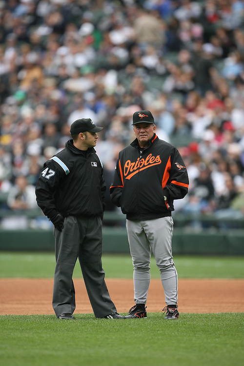 CHICAGO - APRIL 27:  Manager Dave Trembley #47 of the Baltimore Orioles talks to umpire Mark Wegner #47 after a balk call during the game against the Chicago White Sox at U.S. Cellular Field in Chicago, Illinois on April 27, 2008.  The White Sox defeated the Orioles 6-1.  (Photo by Ron Vesely)