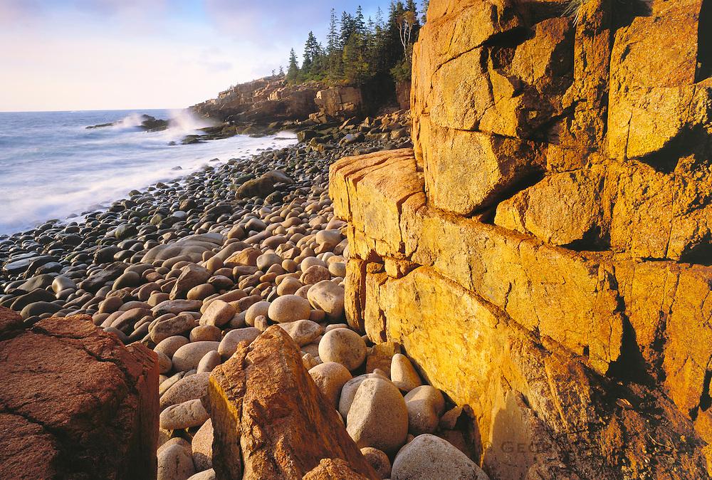 0901-1013LVT ~ Copyright: George H. H. Huey ~ Monument Cove at sunrise. The east shore of Mt. Desert Island. Frenchman's Bay, Atlantic Ocean. Acadia National Park, Maine.