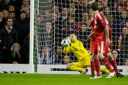LIVERPOOL, ENGLAND - Wednesday, December 9, 2009: Liverpool's goalkeeper Diego Cavalieri makes a save against AFC Fiorentina during the UEFA Champions League Group E match at Anfield. (Photo by David Rawcliffe/Propaganda)