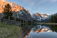 It was a beautiful evening at East Rosebud Lake. The last light on the Beartooth Mountains was reflected in the calm water at the lake's outlet.