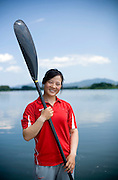 Women Kayaker Wang Feng in Yanqing, where she is training for the Beijing 2008 Olympics.