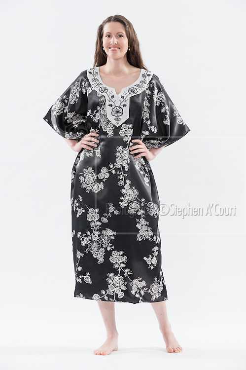 Floral Embroidered Caftan Black. Photo credit: Stephen A'Court.  COPYRIGHT ©Stephen A'Court