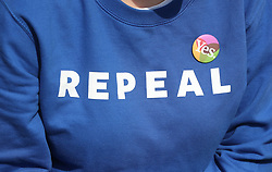Fiona McEvoy wears a repeal jumper, as the result is announced at Dublin Castle in the referendum on the 8th Amendment of the Irish Constitution which prohibits abortions unless a mother's life is in danger.
