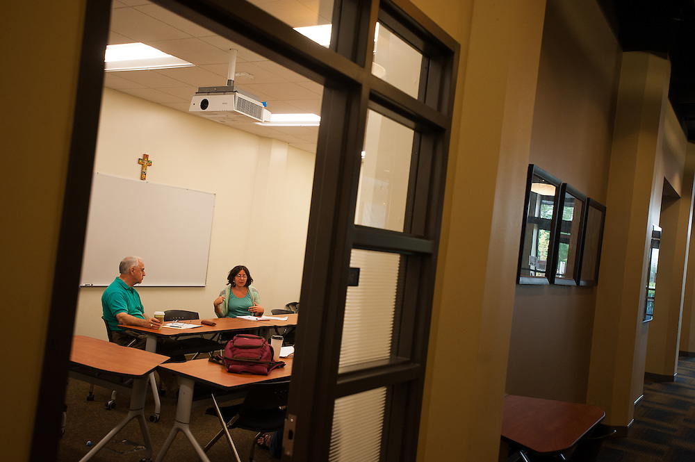 Students and faculty work, play and discuss in the classroom as part of Gonzaga's Doctoral Leadership Program.<br /> Photo by Rajah Bose