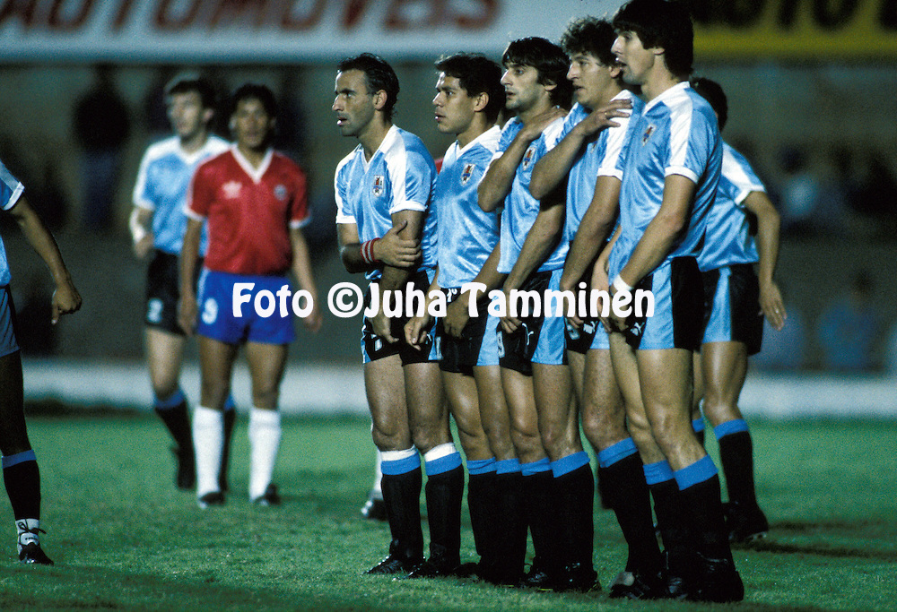 06.07.1989, Estadio Serra Dourada, Goi?nia, Brazil..Copa Am?rica 1989, Chile v Uruguay..In the Uruguayan wall from left Antonio Alzamendi, Rub?n Paz, Enzo Francescoli, Jos? Perdomo and Santiago Ostolaza..©Juha Tamminen