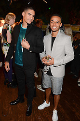 Left to right, gymnast LOUIS SMITH silver medal winner at London 2012 Olympics and Singer ASTON MERRYGOLD at the the London Collections: Men 2013 Ben Sherman and Shortlist Magazine party at Sketch, Conduit Street, London on 18th June 2013.