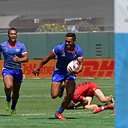 Manu Samoa's Tomasi Alosio opens the 2nd half of their Challenge Quarter Final vs Wales with a try a Day 2 of the World Cup 7's USA, AT&T Park, San Francisco, California, USA.  The teams tied 19-19 with Wales scoring in Extra Time prevailing 24-19.  Photo by Barry Markowitz, 7/21/18, 3:30pm