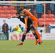 14th April 2018, Tannadice Park, Dundee, Scotland; Scottish Championship football, Dundee United versus Falkirk; Bilel Mohsni of Dundee United beats Idris Kadded of Dundee United to the ball