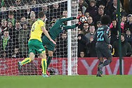 Angus Gunn of Norwich saves a shot on goal from Danny Drinkwater of Chelsea during the FA Cup match at Carrow Road, Norwich<br /> Picture by Paul Chesterton/Focus Images Ltd +44 7904 640267<br /> 06/01/2018
