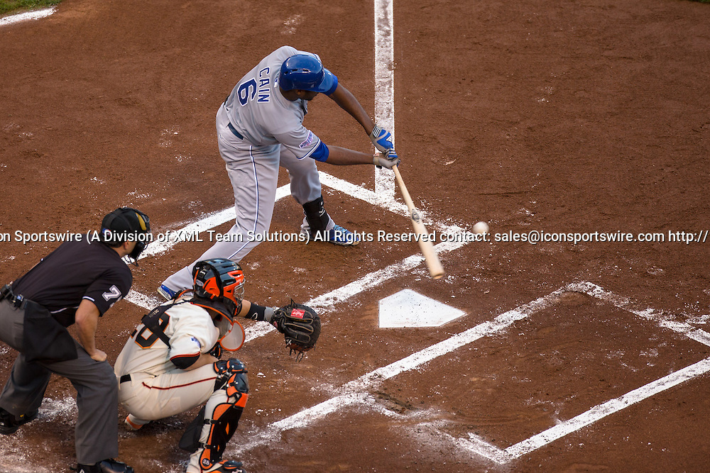 October 24, 2014: Kansas City Royals center fielder Lorenzo Cain (6) at bat hand connecting with the ball for an RBI (Escobar), in the first inning during game three of the World Series between the San Francisco Giants and the Kansas City Royals at AT&T Park in San Francisco, California, USA.
