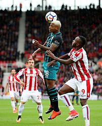 Saido Berahino of Stoke City challenges Mario Lemina of Southampton - Mandatory by-line: Matt McNulty/JMP - 30/09/2017 - FOOTBALL - Bet365 Stadium - Stoke-on-Trent, England - Stoke City v Southampton - Premier League