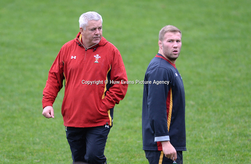 23.06.16 - Wales Rugby Training -<br /> Warren Gatland and Ross Moriarty during training.