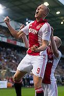 BREDA, NAC Breda - Ajax, voetbal Eredivisie seizoen 2014-2015, 27-09-2014, Rat Verlegh Stadion, Ajax speler Kolbeinn Sigthorsson (L) heeft de 3-0 gescoord, Ajax speler Davy Klaassen (R).