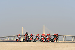 February 24, 2019 - Abu Dhabi, United Arab Emirates - Members of Team Sunweb in action, during the Team Time Trial, the opening ADNOC stage of the inaugural UAE Tour 2019..On Sunday, February 24, 2019, Abu Dhabi, United Arab Emirates. (Credit Image: © Artur Widak/NurPhoto via ZUMA Press)