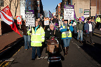Unison members on the TUC Day of Action 30th November, Sheffield ..© Martin Jenkinson, tel 0114 258 6808 mobile 07831 189363 email martin@pressphotos.co.uk. Copyright Designs & Patents Act 1988, moral rights asserted credit required. No part of this photo to be stored, reproduced, manipulated or transmitted to third parties by any means without prior written permission