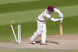 Tom Abell of Somerset is bowled out by Keith Barker of Warwickshire for 1 - Mandatory byline: Rogan Thomson/JMP - 07966 386802 - 24/09/2015 - CRICKET - The County Ground - Taunton, England - Somerset v Warwickshire - Day 3 - LV= County Championship Division One.