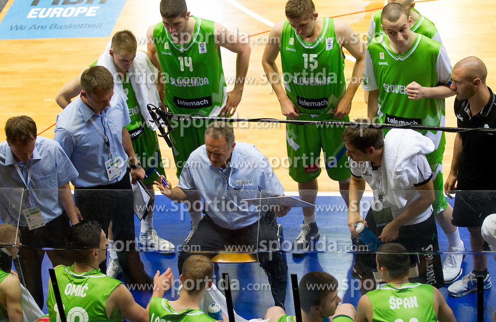 Zmago Sagadin, head coach of Slovenia talks to players during basketball match between National teams of Latvia and Slovenia in Qualifying Round of U20 Men European Championship Slovenia 2012, on July 16, 2012 in Domzale, Slovenia. (Photo by Vid Ponikvar / Sportida.com)