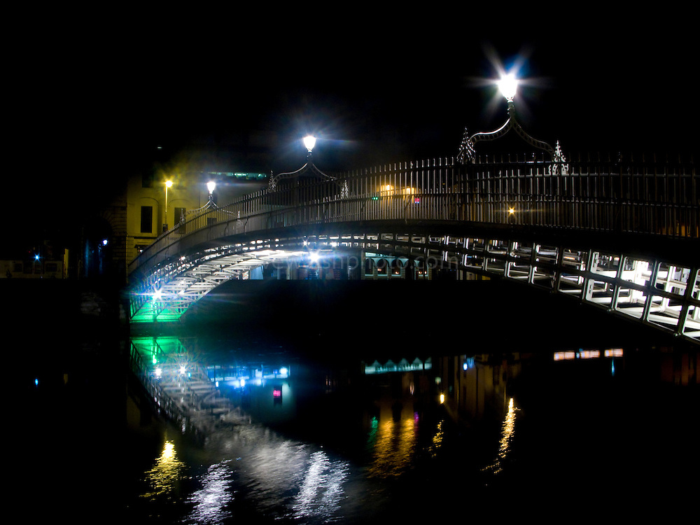 The Ha'penny Bridge, known later for a time as the Penny Ha'penny Bridge, is a pedestrian bridge built in 1816 over the River Liffey in Dublin, Ireland. Originally called the Wellington Bridge (after the Duke of Wellington), the name of the bridge changed to Liffey Bridge, its official name to this day. It is still commonly known as the Ha'penny Bridge. The toll itself was dropped in 1919; before this there were turnstiles either end of it...