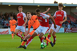 LEYLAND, ENGLAND - Friday, September 1, 2017: Liverpool's George Johnston and Fleetwood Town's Victor Nirennold during the Lancashire Senior Cup Final match between Fleetwood Town and Liverpool Under-23's at the County Ground. (Pic by Propaganda)