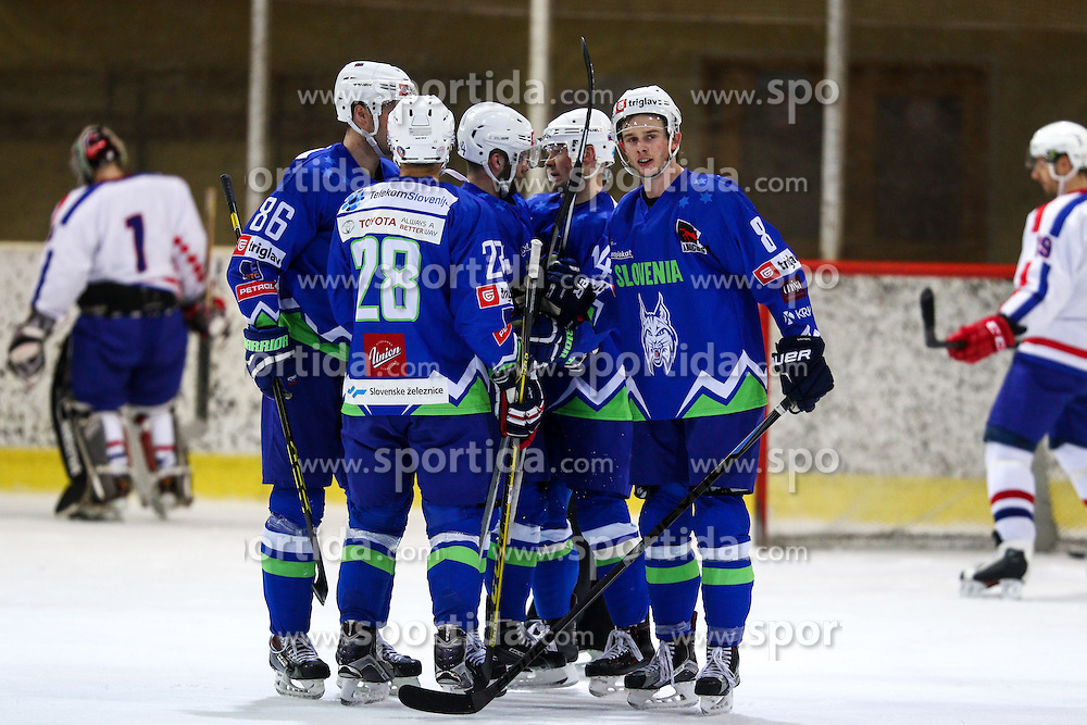 Players of Slovenia celebrate during friendly ice hockey match between Slovenia and Croatia, on April 12, 2016 in Ledena dvorana, Bled, Slovenia. Photo By Matic Klansek Velej / Sportida