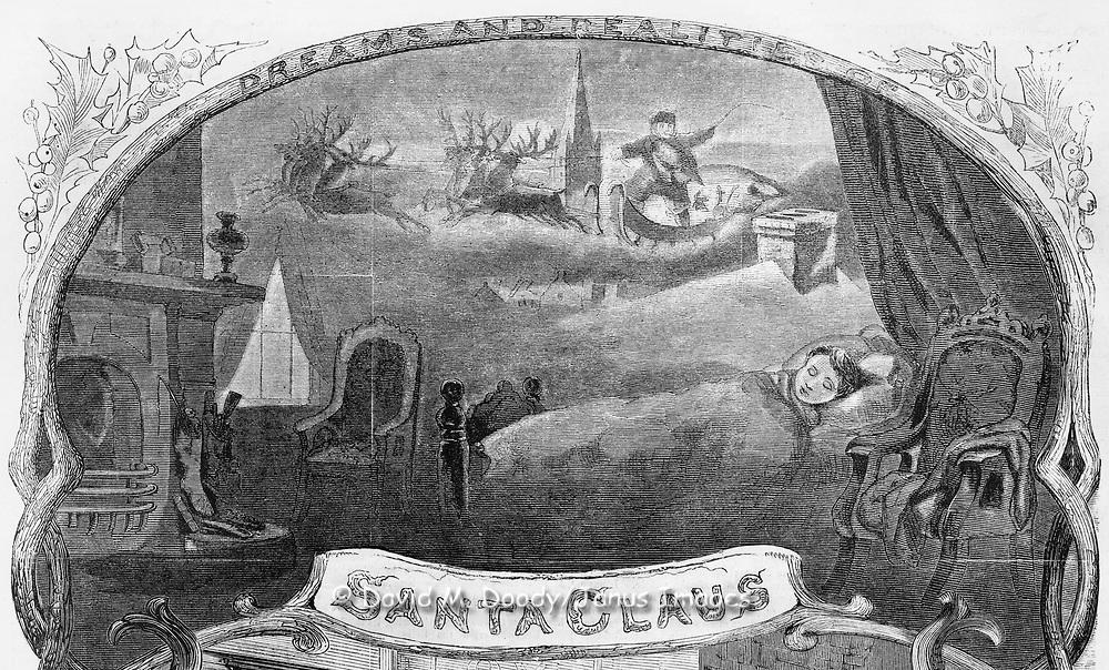 Harper's Weekly Santa Claus , 1860 Christmas: kids sleep, dreaming of Santa