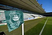 General view inside Home Park Stadium and the corner flag before the EFL Sky Bet League 1 match between Plymouth Argyle and Burton Albion at Home Park, Plymouth, England on 20 October 2018.