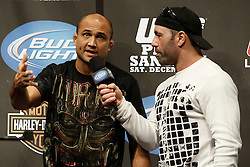 Dec 12, 2009; Memphis, TN, USA; UFC Lightweight Champion BJ Penn speaks to Joe Rogan after weighing in for his upcoming bout against challenger Diego Sanchez at UFC 107.  The two will meet at the FedEx Forum in Memphis, TN.