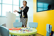 ABU DHABI, UAE - FEBRUARY 8, 2015: The classroom of the 'flying nannies,' where the cabin crew are trained to assist parents, when kids are not behaving.