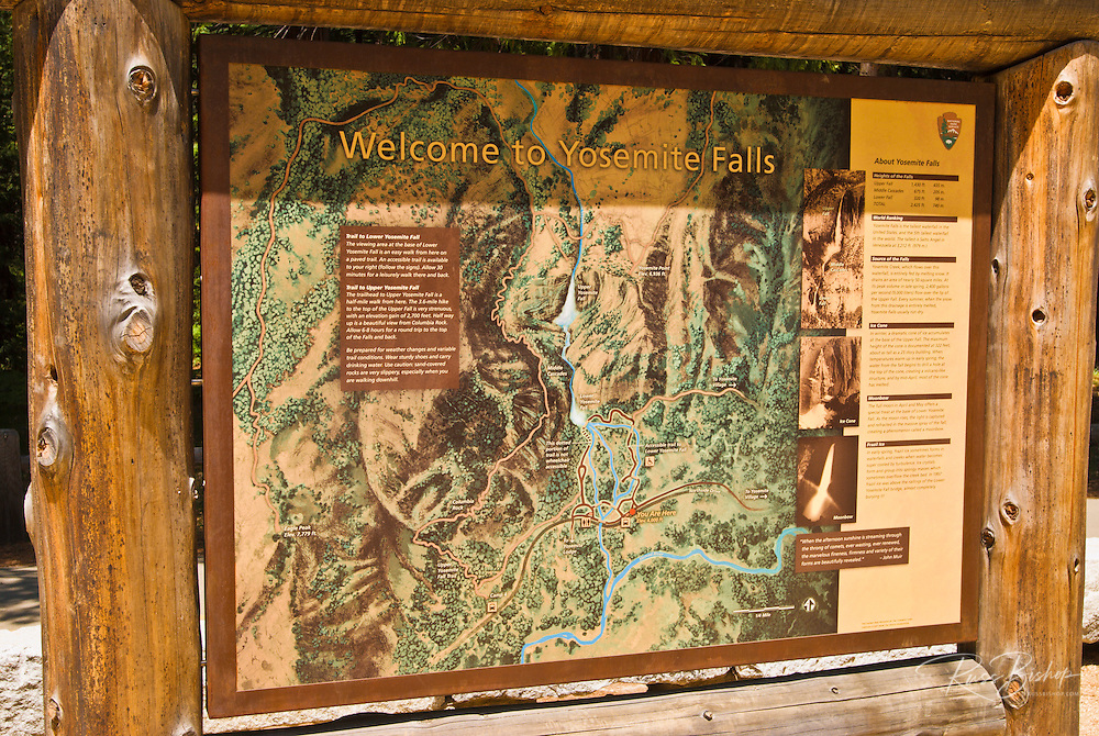 Interpretive sign at Yosemite Falls, Yosemite National Park, California