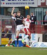 Dundee&rsquo;s Craig Wighton oujumps Rangers&rsquo; James Tavernier - Dundee v Rangers in the Ladbrokes Scottish Premiership at Dens Park, Dundee.Photo: David Young<br /> <br />  - &copy; David Young - www.davidyoungphoto.co.uk - email: davidyoungphoto@gmail.com