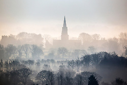 © Licensed to London News Pictures. 24/01/2017. Weeton UK. St Barnabas Church in the village of Weeton in rises out of the fog this morning in Yorkshire. Photo credit: Andrew McCaren/LNP