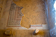 Remains of the Mosaic floor in a ritual bath (Mikveh) Masada national park, Israel