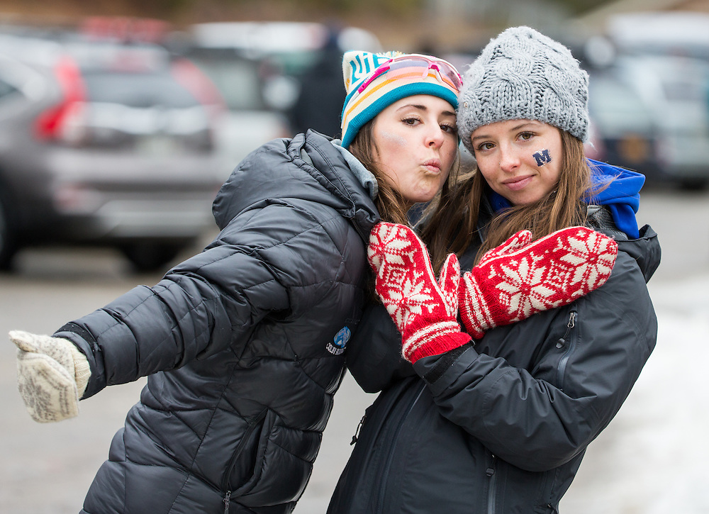 Olivia Amber of Colby College and Nicolette Amber of Middlebury College, during the Williams Carnival 5km Classic Pursuit on Saturday February 20, 2016 in Lake Placid, NY. (Dustin Satloff)